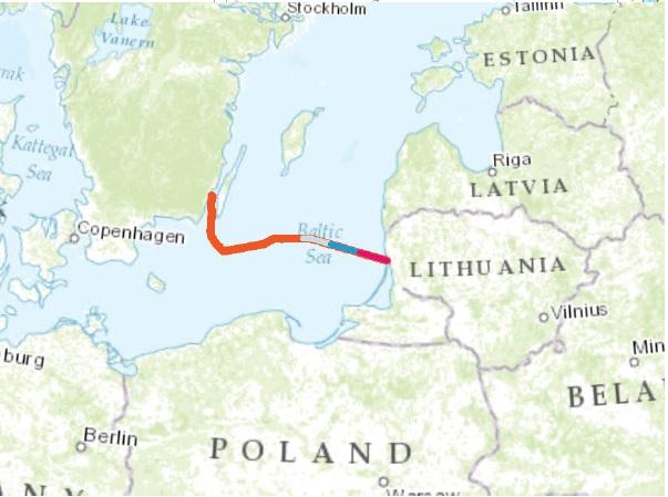 """Nutiestas pirmasis šimtas kilometrų elektros jungties """"NordBalt"""" kabelio"""