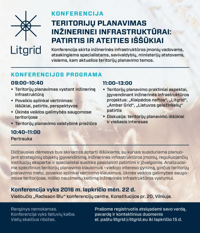 """Konferencija """"Teritorijų planavimas inžinerinei infrastruktūrai: patirtis ir ateities iššūkiai"""""""